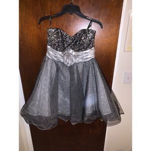 Windsor - Grey Sequin Homecoming Dress